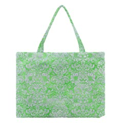 Damask2 White Marble & Green Watercolor Medium Tote Bag