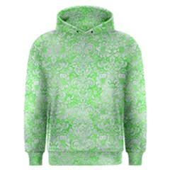Damask2 White Marble & Green Watercolor Men s Overhead Hoodie