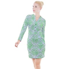 Damask1 White Marble & Green Watercolor (r) Button Long Sleeve Dress