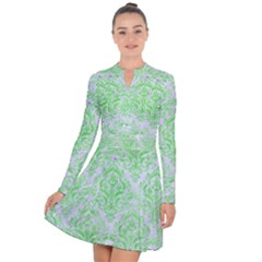 Damask1 White Marble & Green Watercolor (r) Long Sleeve Panel Dress