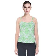Damask1 White Marble & Green Watercolor (r) Velvet Spaghetti Strap Top