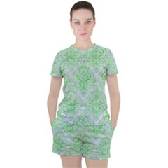 Damask1 White Marble & Green Watercolor (r) Women s Tee And Shorts Set
