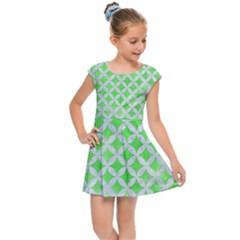 Circles3 White Marble & Green Watercolor Kids Cap Sleeve Dress