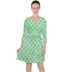 Circles3 White Marble & Green Watercolor Ruffle Dress