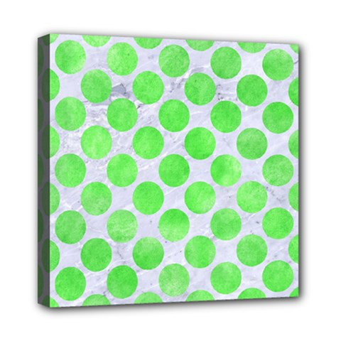 Circles2 White Marble & Green Watercolor (r) Mini Canvas 8  X 8  by trendistuff