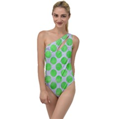 Circles2 White Marble & Green Watercolor (r) To One Side Swimsuit