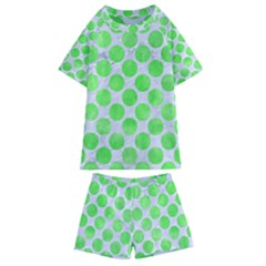 Circles2 White Marble & Green Watercolor (r) Kids  Swim Tee And Shorts Set by trendistuff