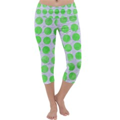 Circles1 White Marble & Green Watercolor (r) Capri Yoga Leggings