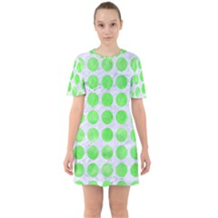 Circles1 White Marble & Green Watercolor (r) Sixties Short Sleeve Mini Dress