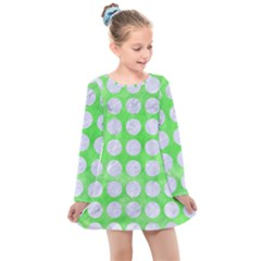 Circles1 White Marble & Green Watercolor Kids  Long Sleeve Dress by trendistuff