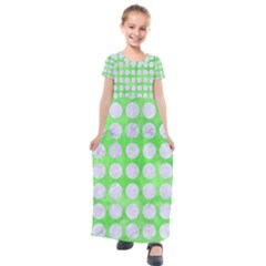 Circles1 White Marble & Green Watercolor Kids  Short Sleeve Maxi Dress by trendistuff