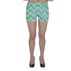 Chevron9 White Marble & Green Watercolor (r) Skinny Shorts by trendistuff