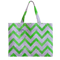 Chevron9 White Marble & Green Watercolor (r) Zipper Mini Tote Bag by trendistuff
