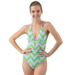 Chevron9 White Marble & Green Watercolor (r) Halter Cut Out One Piece Swimsuit