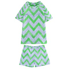 Chevron9 White Marble & Green Watercolor (r) Kids  Swim Tee And Shorts Set