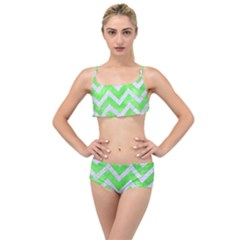 Chevron9 White Marble & Green Watercolor Layered Top Bikini Set