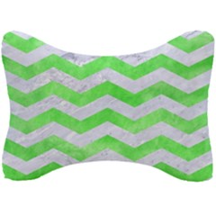 Chevron3 White Marble & Green Watercolor Seat Head Rest Cushion