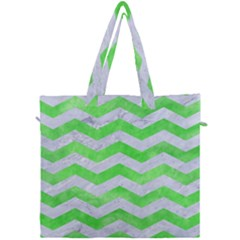Chevron3 White Marble & Green Watercolor Canvas Travel Bag by trendistuff
