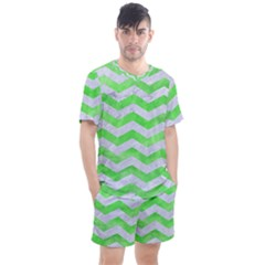 Chevron3 White Marble & Green Watercolor Men s Mesh Tee And Shorts Set