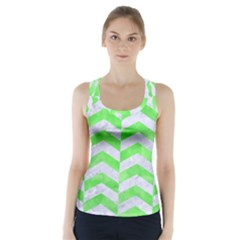 Chevron2 White Marble & Green Watercolor Racer Back Sports Top