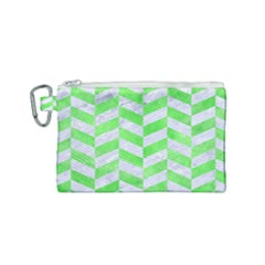 Chevron1 White Marble & Green Watercolor Canvas Cosmetic Bag (small) by trendistuff