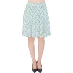 Brick2 White Marble & Green Watercolor (r) Velvet High Waist Skirt by trendistuff