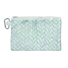 Brick2 White Marble & Green Watercolor (r) Canvas Cosmetic Bag (large) by trendistuff