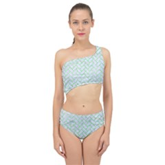 Brick2 White Marble & Green Watercolor (r) Spliced Up Two Piece Swimsuit