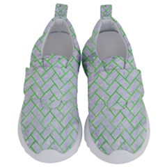 Brick2 White Marble & Green Watercolor (r) Velcro Strap Shoes