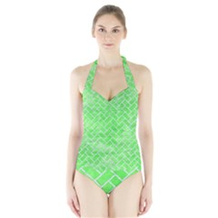 Brick2 White Marble & Green Watercolor Halter Swimsuit by trendistuff