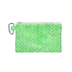 Brick2 White Marble & Green Watercolor Canvas Cosmetic Bag (small)