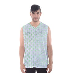 Brick1 White Marble & Green Watercolor (r) Men s Basketball Tank Top by trendistuff