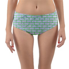 Brick1 White Marble & Green Watercolor (r) Reversible Mid Waist Bikini Bottoms