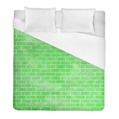 Brick1 White Marble & Green Watercolor Duvet Cover (full/ Double Size) by trendistuff