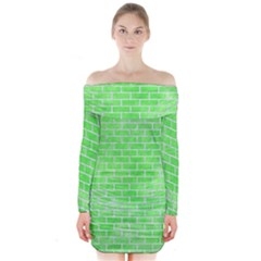 Brick1 White Marble & Green Watercolor Long Sleeve Off Shoulder Dress by trendistuff