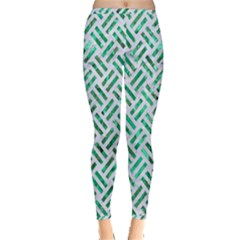 Woven2 White Marble & Green Marble (r) Inside Out Leggings by trendistuff