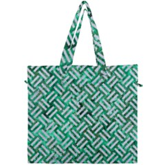 Woven2 White Marble & Green Marble Canvas Travel Bag by trendistuff