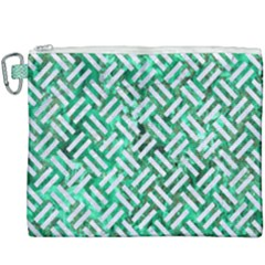 Woven2 White Marble & Green Marble Canvas Cosmetic Bag (xxxl) by trendistuff