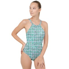 Woven1 White Marble & Green Marble (r) High Neck One Piece Swimsuit