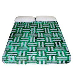 Woven1 White Marble & Green Marble Fitted Sheet (california King Size)