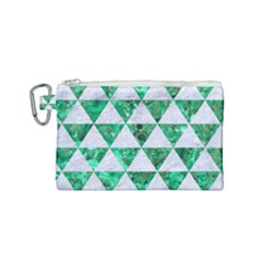 Triangle3 White Marble & Green Marble Canvas Cosmetic Bag (small) by trendistuff