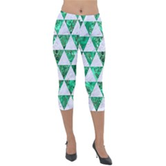 Triangle3 White Marble & Green Marble Lightweight Velour Capri Leggings  by trendistuff