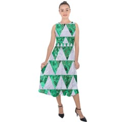 Triangle2 White Marble & Green Marble Midi Tie Back Chiffon Dress