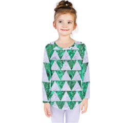 Triangle2 White Marble & Green Marble Kids  Long Sleeve Tee