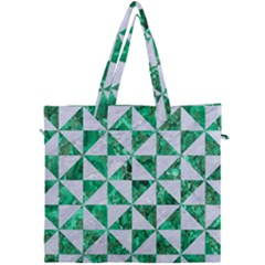Triangle1 White Marble & Green Marble Canvas Travel Bag by trendistuff