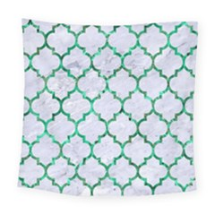 Tile1 (r) White Marble & Green Marble Square Tapestry (large) by trendistuff