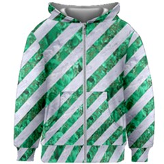 Stripes3 White Marble & Green Marble (r) Kids Zipper Hoodie Without Drawstring