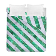 Stripes3 White Marble & Green Marble Duvet Cover Double Side (full/ Double Size) by trendistuff