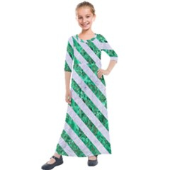 Stripes3 White Marble & Green Marble Kids  Quarter Sleeve Maxi Dress by trendistuff