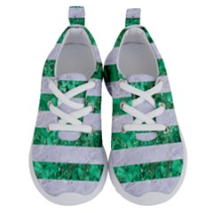 Stripes2 White Marble & Green Marble Running Shoes